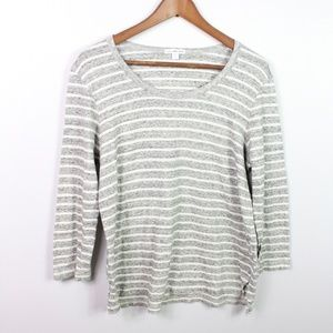 Standard James Perse Striped Top 3/4 Sleeve Knit